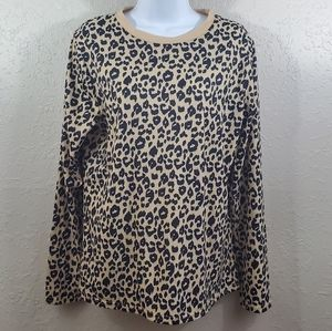 Blooming Jelly Long Sleeve Leopard Print Top